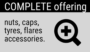 Complete Offering: Nuts, caps, tyres, flares, accessories.