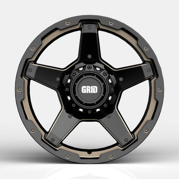 Grid GD04 Gloss Black with Double Dark Tint Milling